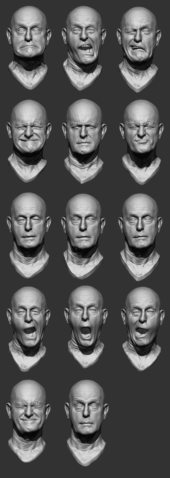 Truck driver expressions, Chris Rawlinson on ArtStation at http://www.artstation.com/artwork/truck-driver-expressions