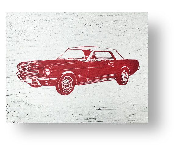 The Iconic Ford Mustang 13 x 10 Rustic Sign by GoJumpInTheLake