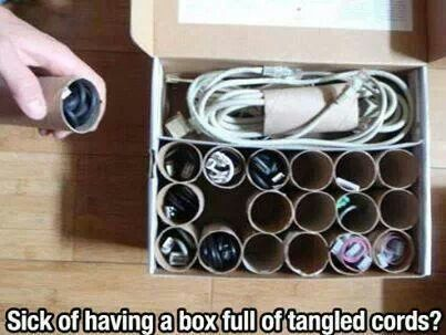 Instead of throwing away toilet paper rolls you can use them for cord storage.