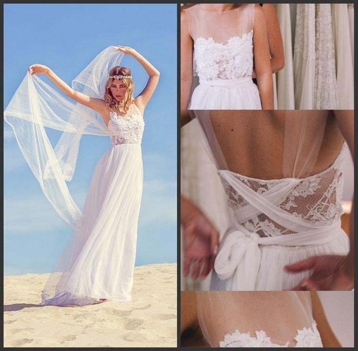 2016 сексуальная рукавов кружева-бич свадебные платья платья 2016 лето белый / цвета слоновой кости спинки-линии шифоновое платье невесты