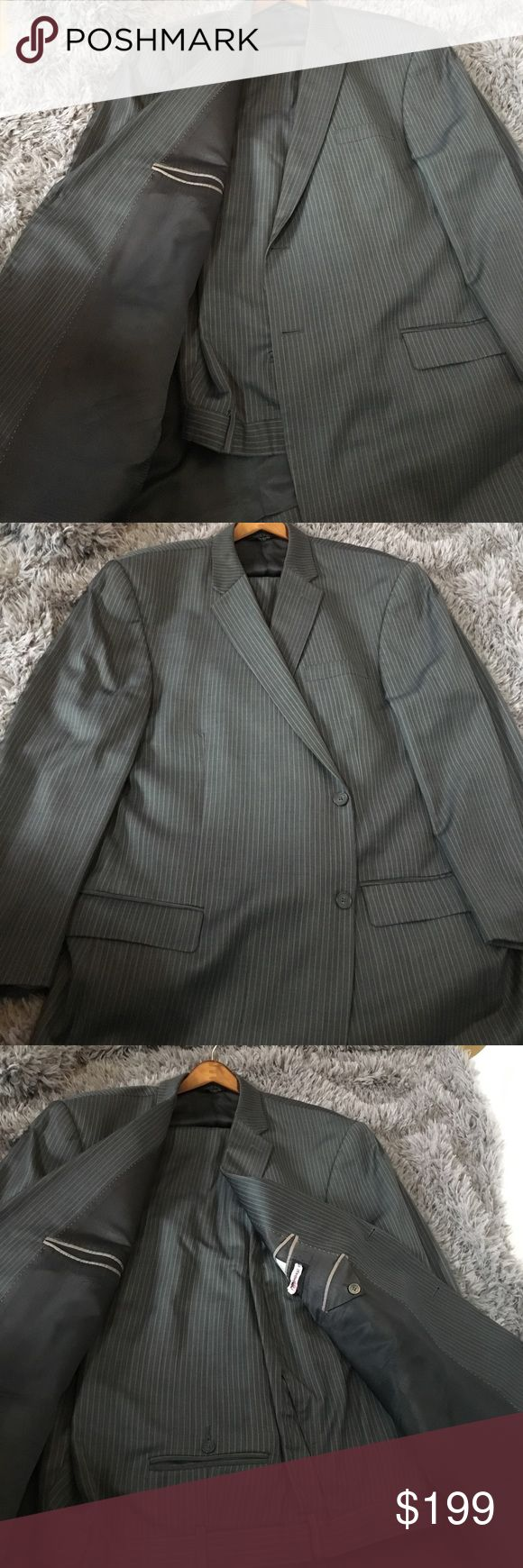 Gray pinstripe men's suit Gray pinstripe Claiborne men's pants suit - 100% Wool Claiborne Suits & Blazers Suits