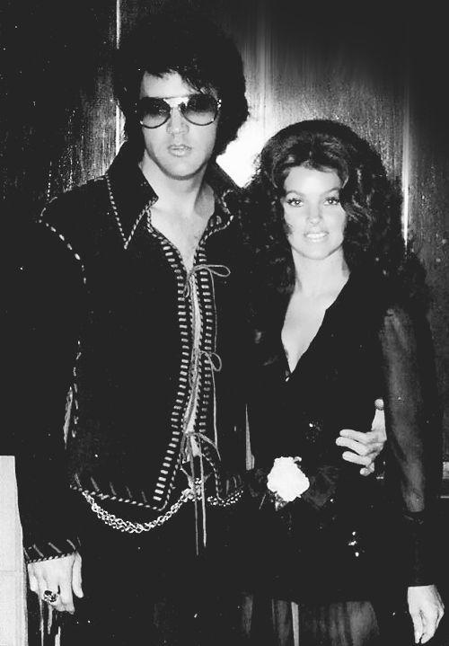 Elvis and Priscilla Presley at a Tom Jones concert at Caesars Hotel, Las Vegas, May 1971.