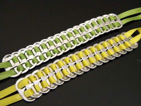 Love these Soda tab braclets    My daughter made these with plastic laces instead of ribbon. Very cool! Kathy