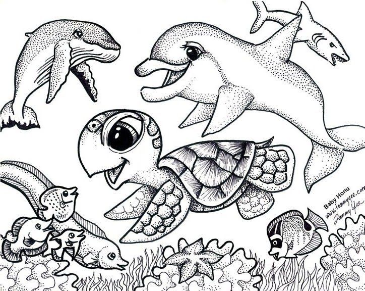 Sea turtle coloring pages for adults prasekolah baiduri for Cute sea animal coloring pages