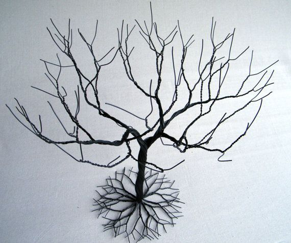 Black large Jewelry Tree Stand wire tree sculpture. by KunsWerk