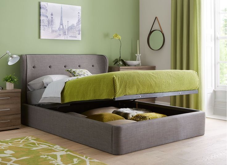Cooper Charcoal Grey Fabric Ottoman Bed Frame