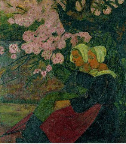 Paul Sérusier — Deux bretonnes sous un pommier en fleurs (1892)