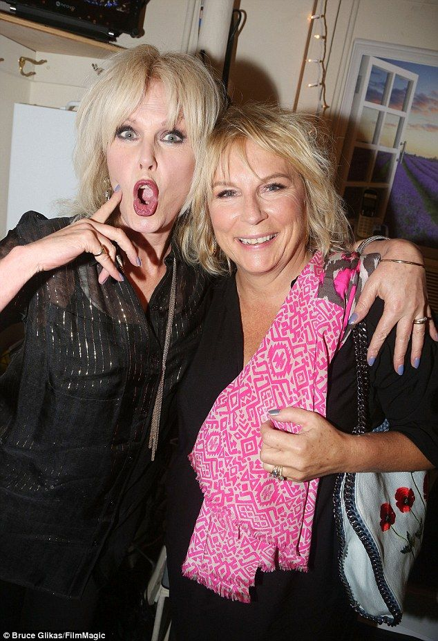 Only fabulous: Joanna Lumley, 70, and Jennifer Saunders, 58, complemented each other in matching black outfits as they enjoyed Broadway show The Color Purple on Wednesday