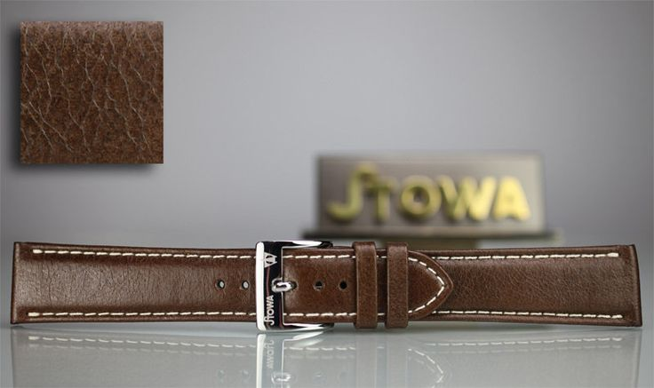 Stowa brown camel leather strap with cream stitching