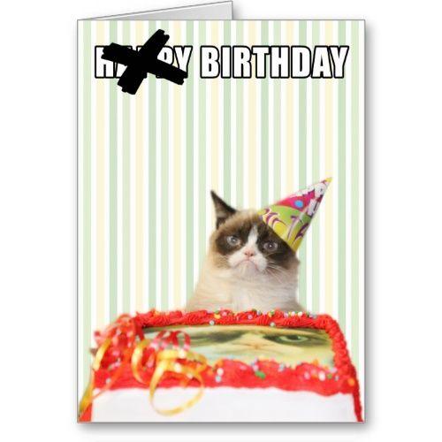 Grumpy Cat - Happy Birthday Card