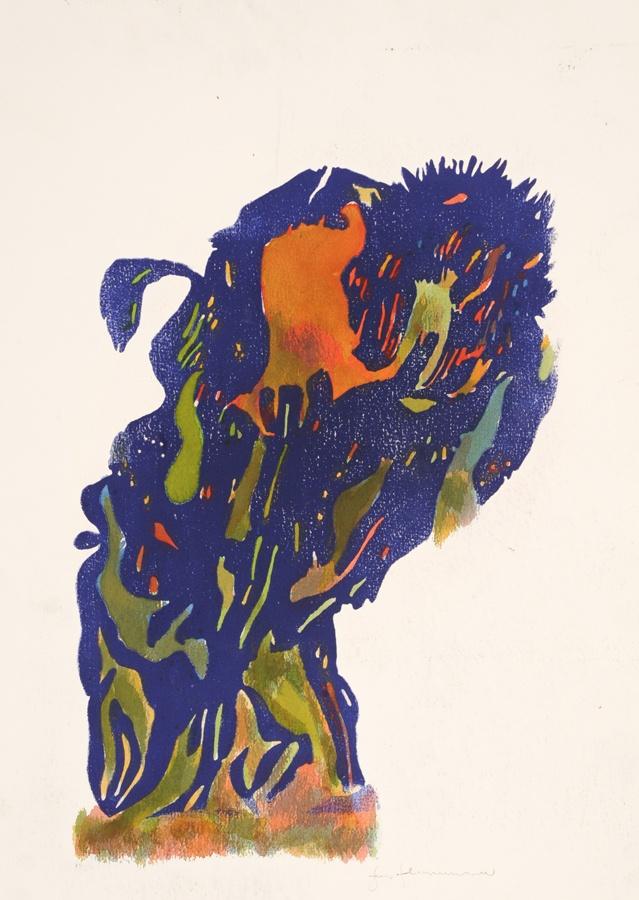 Jens Johannessen -  Tresnitt akvarell (original)