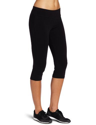 Spalding Women's Capri Legging Black Cotton Classic Capri length legging, is excellent for your fitness training Makes a great base layer for everyday style 19 1/2 inch inseam hits you halfway to lower calf Pant fits nicely tight to the leg Heat seal Spalding logo at hip