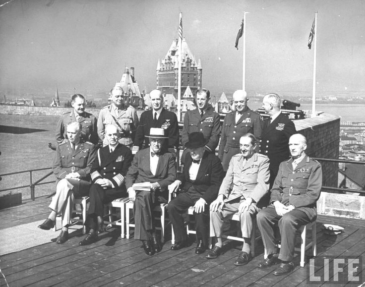Group shot of Winston Churchill, Franklin Roosevelt and others sitting together on terrace of The Citadel, Quebec during the two leaders' conference on war problems. Quebec City, Canada Date taken:1944  .♥❃❋✽✾❀❃ ♥    http://en.wikipedia.org/wiki/Winston_Churchill    http://www.fdrlibrary.marist.edu/education/resources/biographies.html   http://www.fdrlibrary.marist.edu/