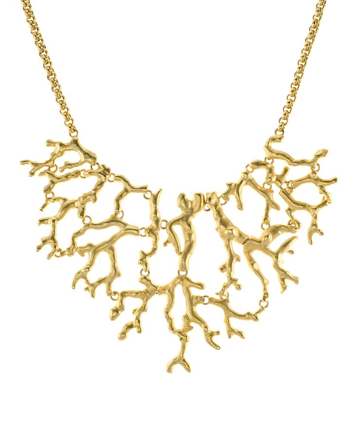 Kenneth Jay Lane Polished Gold Coral Branch Necklace Gold ntWK2D