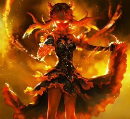 Fire demon fantasy wallpaper id 1776669 desktop nexus - Anime girls with fire ...