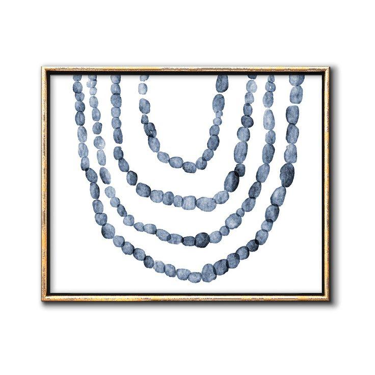 Blue minimalist watercolor painting modern printable wall art chaos wonder design