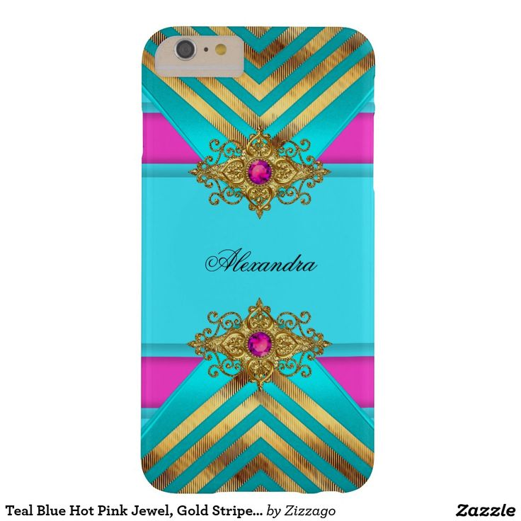 Teal Blue Hot Pink Jewel, Gold Stripe Striped Barely There iPhone 6 Plus Case