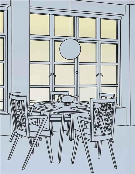 Patrick Caulfield (British, 1936-2005), Interior with Fondue Pan, 1971. Oil on canvas, 108 x 84 in. (274.3 x 213.4 cm.)