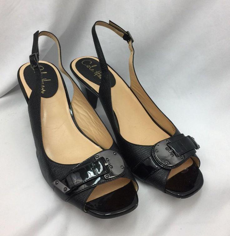 "Cole Haan Nike Air Leather 3"" Heels Womens Peep Toe Slingback Shoes 8 1/2  | eBay"