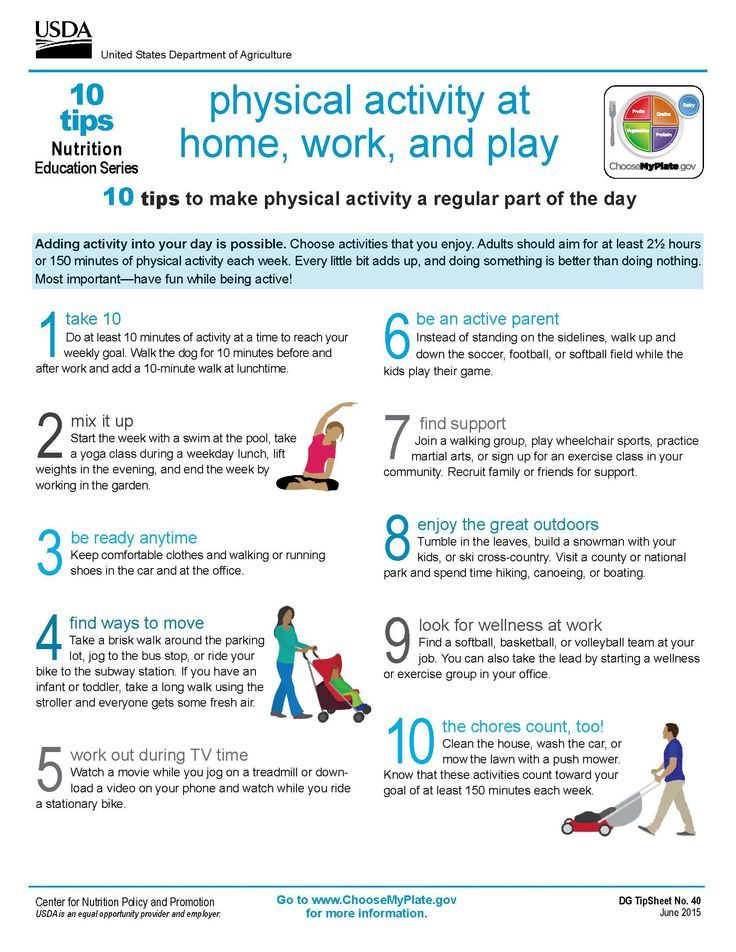 10 Tips Physical Activity at Home, Work, and Play #MyPlate