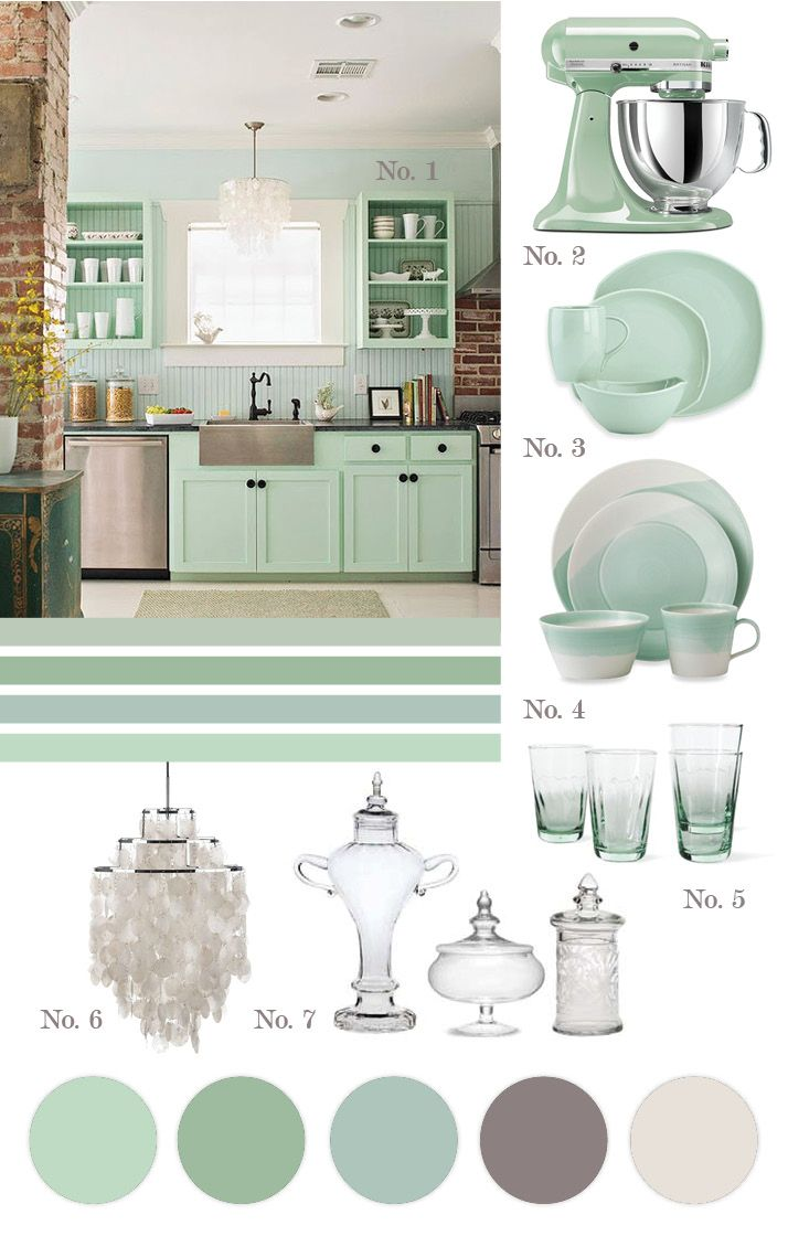 color inspiration for our kitchen mint green