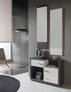 Meuble d'entrée moderne + miroirs DONATELLO, disponible en 2 coloris