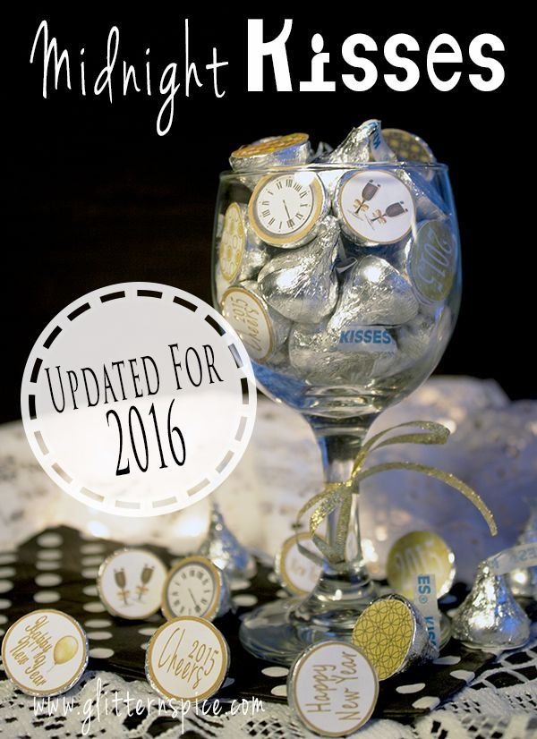 2016 New Years Eve Hershey Midnight Kisses And Printable Stickers