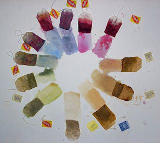 Natural dying from teabags.: Teas Time, Color Wheels, Natural Dyes, Teas Stained, Colour Palettes, Teas Art, Teas Bags, Fabrics Dyes, Homesteads Survival