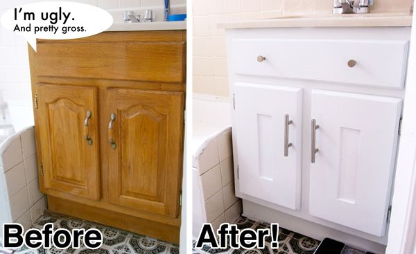 The 'before' looks like my bathroom cabinets... :( and they are ugly, too. Time for some DIY.
