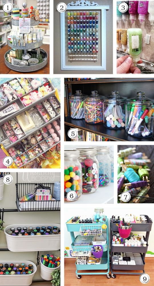 Craft Supply Storage Ideas including jars, sewing thread organization, carts and more.