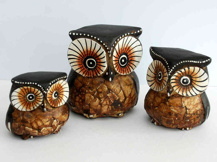 3 Wood Owls The English Owl Company