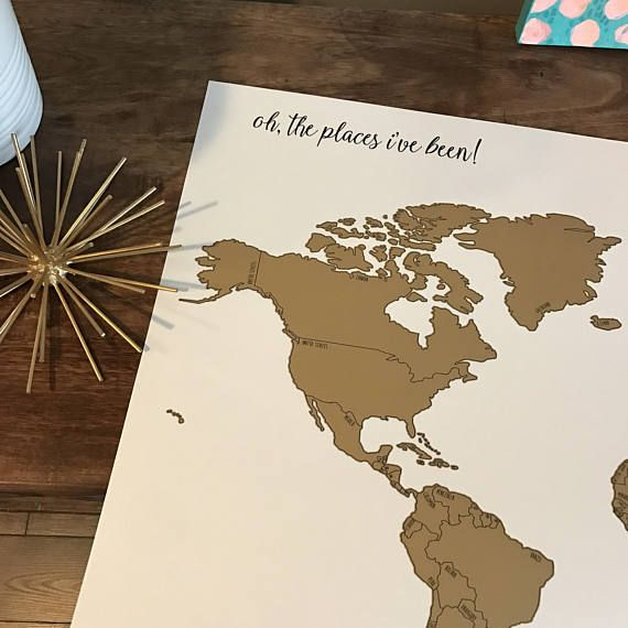 Follow my instagram for updates and promotions. https://www.instagram.com/kristindouglasart/ Love my new printed world scratch map but want to add some personalized touches? This is the map for you. You chose what you want your cursive title to be. See below for details: 20x30 inches Directions for Personalized maps: 4-5 word personalizations look best. Max Character Limit is 50 characters. Include your personalization request exactly how you want it in the comments du...