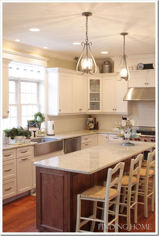 Home with great ideas...what I love about this kitchen especially is they used shallower base cabinets to allow room for a counter overhang & barstools, when the space otherwise wouldn't have room.