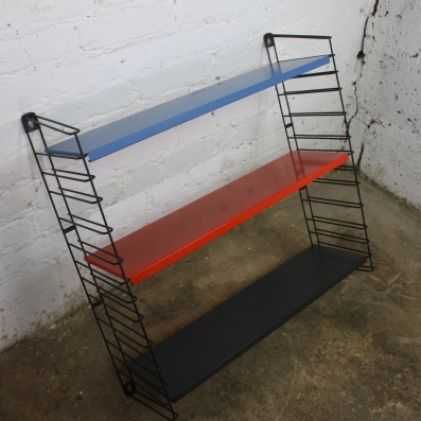 Mid Century Tomado Book Rack in Bright Blue Red and Black Holland 1950s