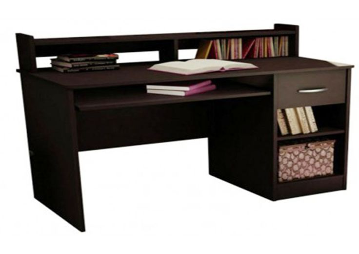 Study table with drawer, racks and open table top made up of plywood with laminate finish. The dark wood color makes the product look irresistible. This table saves space and lets you fit in a good number of essentials in an organized manner.