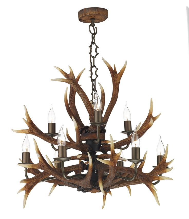 Dar ANT1329 Antler 9 Light Tiered Ceiling Pendant in Rustic Finish from Lights 4 Living - entrance hall?