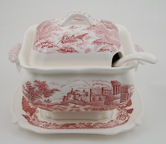 4 Pc. Vintage Red Transferware Tureen Set, Trimont Ware, Made in Japan; Castle, Vintage Transferware, Midcentury Tureen, Vintage Soup Tureen
