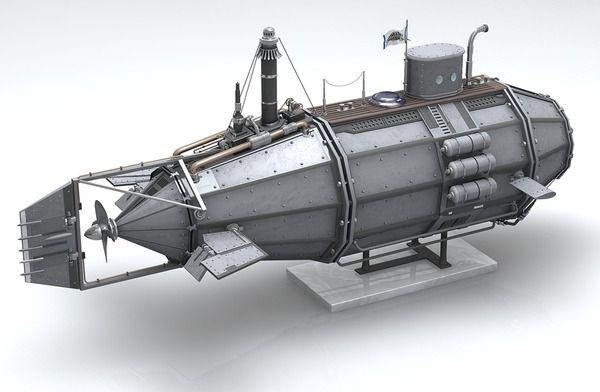 Steampunk Submarine by Michael Daglas, via Behance