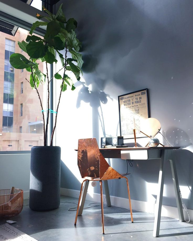 Real Good Chair In Copper And Stash Desk By Blu Dot