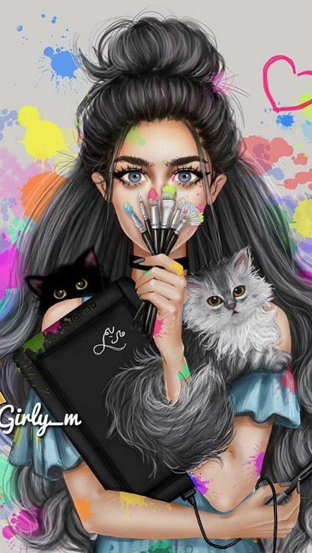 FONDO DE PANTALLA / mujer con gatitos BY coralito gamer