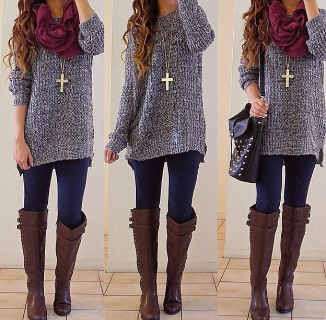 Knitted sweater outfit