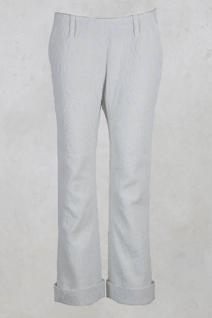 Wide Leg Textured Trousers in Ivory - Les Filles D'ailleurs