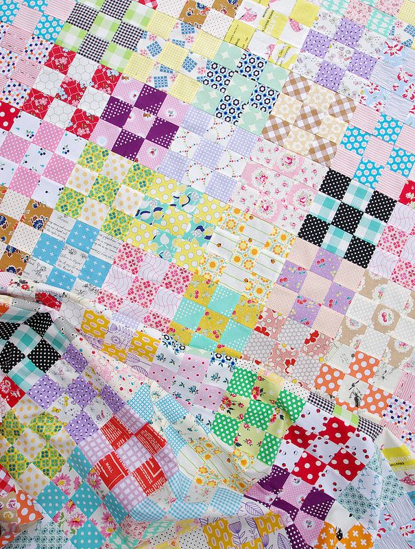 Nine Patch Checkerboard Quilt Tutorial Instructions on how to make a checkerboard style 9 patch quilt. Cutting instructions including diagrams and measurements, and pressing instructions so the seams between adjacent blocks nest together.