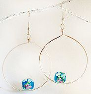Silver plated hoop earrings with foiled beads