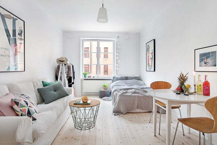 25 best ideas about studio apartment layout on pinterest - Small couch for studio ...