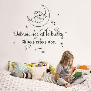 Samolepka na zeď Dobrou noc pro děti, 70x50 cm