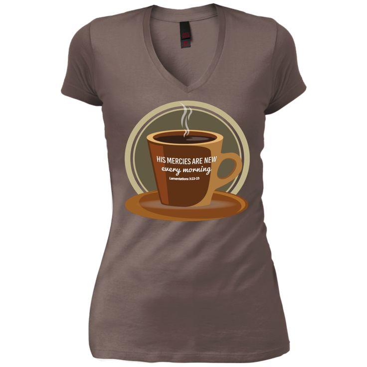New Mercies (Lamentations 3:22-23) Juniors' V-Neck T-Shirt