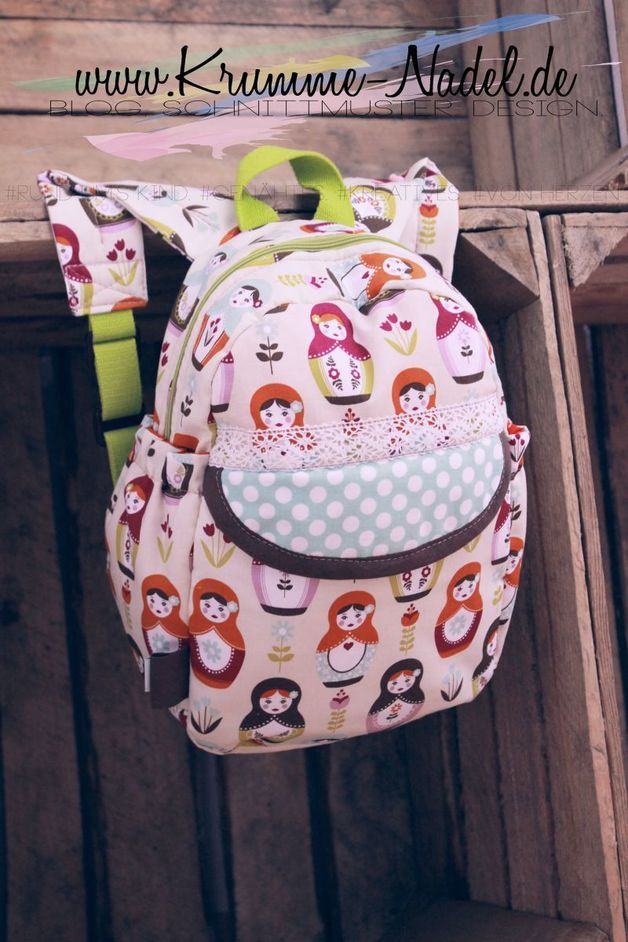 Nähanleitung für einen Kindergarten Rucksack, ganz viel Platz für Spielzeug / diy sewing instruction: backpack for kindergarden by Krumme-Nadel via DaWanda.com