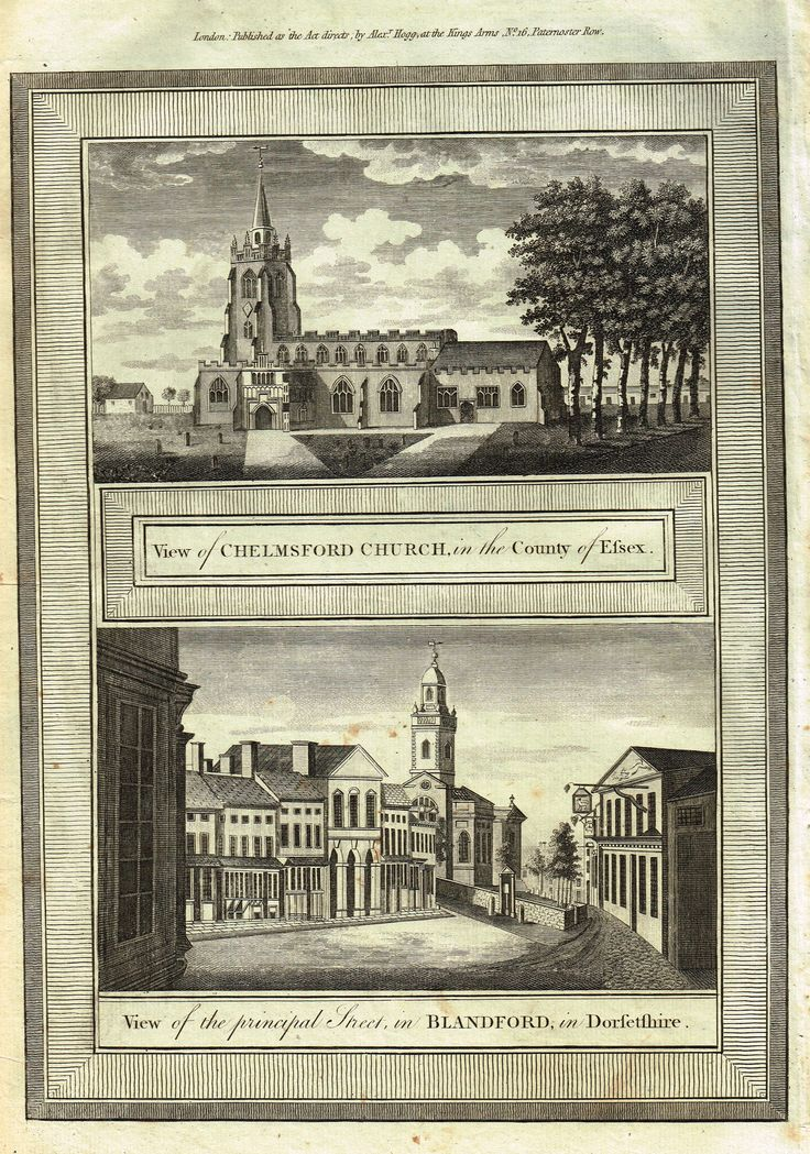 "Hogg's Antique Scene - ""VIEW OF CHELMSFORD CHURCH, ESSEX"" - Copper Engraving - 1784"