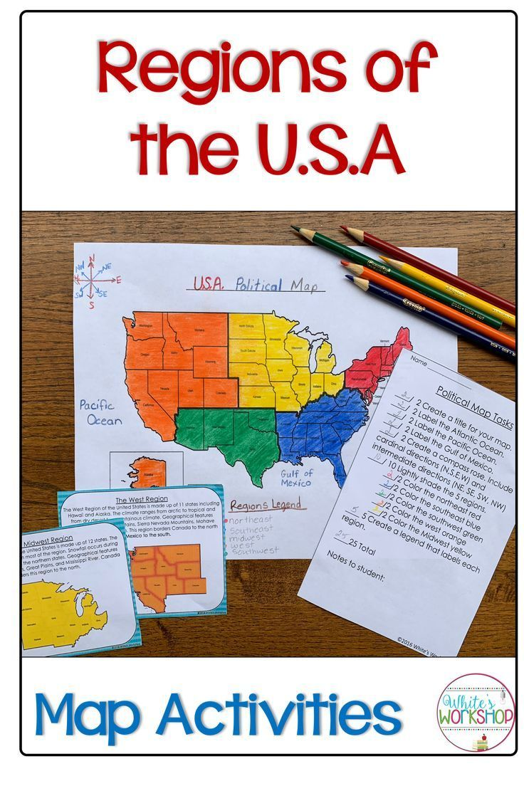 Regions of the United States Map Activities | My Favorite Grade is ...